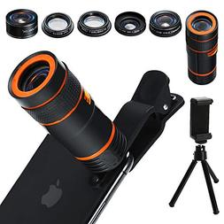 6-in-1 Cell Phone Camera Lens Kit, 12x Telephoto Zoom Lens,