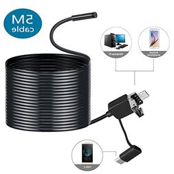 LESHP 3 in 1 Micro USB Type-C Endoscope with 2.0 Megapixels