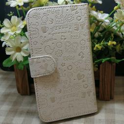 1x Cute White Graffiti Wallet Stander Flip Case Cover For Va