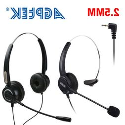 AGPtek 2.5mm Hands-Free Headset with Boom Mic for Office Cel