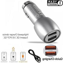 2 Port USB Car FAST Charger + Micro USB Cable Cord for Samsu