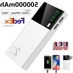 2 USB 500000mAh Power Bank LED External Backup Battery Charg