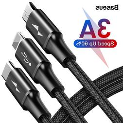 Baseus 3 in <font><b>1</b></font> USB Cable For iPhone Samsu