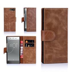 32nd Leather Wallet Case for Sony XZ Premium , With Built-in