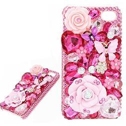 Spritech 3D Luxury Pink Diamond Design Bling Rhinestone Crys