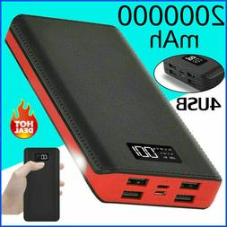4 USB Backup Battery Charger LCD Mobile Power Bank 2000000mA