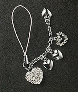5 Crystal Hearts Cell Phone Charm For Mobile Phone Mothers D