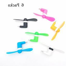 TENKEY 6 Packs USB C Mini Fan USB Tpye C Phone Fan Mini Port
