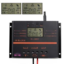 LCD 80A 12V 24V Solar Battery Regulator Charge Discharge Con