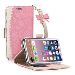 BeePole iPhone X Wallet Case, iPhone 10 Case with Card and C