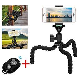 Cell Phone Flexible Tripod Holder with Bluetooth Remote, ZTO