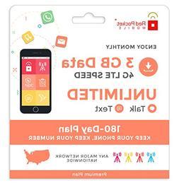 Red Pocket Mobile Premium 180 Day Prepaid Phone Plan, No Con