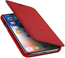 StilGut Genuine Leather Case for iPhone X, Slim Book Type Fo