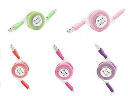 Android USB Cable 1M/3FT LED Flashlight Retractable Charging