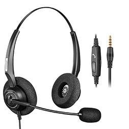 Arama Binaural Headset with Noise Canceling Boom Mic and Adj