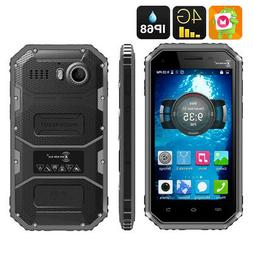 "BLACK 4.5"" KEN XIN DA W6 ANDROID 6.0 SMARTPHONE 4G WATERPR"