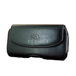 BargainPort Black Color Horizontal Premium Leather with Belt