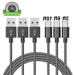 Type C Cable, Arukas 3Pack 3ft 6ft 10ft Nylon Braided USB C