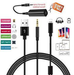 Hain Car AUX In Adapter 3.5mm Jack and USB Y Cable Audio Int