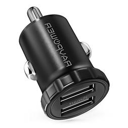 Car Charger RAVPower 24W 4.8A Mini Dual USB Car Adapter, Com