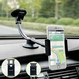 Car Phone Mount, Newward 2 Clamps Long Arm Universal Windshi