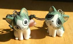 Cell phone charm with ditachable dust plug Two lovely kitten
