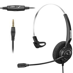 Arama Cell Phone Headset with Boom Mic and Adjustable Headba