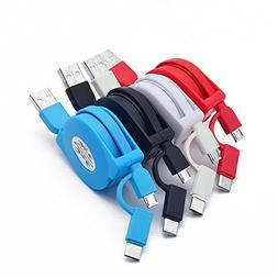 Sudroid 4 Pack of Colorful 2 in 1 Retractable PowerLine Micr