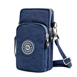 Bags us Small Crossbody Bag 3-Layers Zipper Coin Purse Wrist
