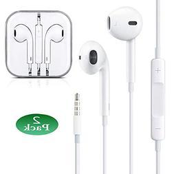 2-Pack Premium Earphones/Earbuds/Headphones with Stereo MicR