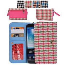 KroO ECX62 Houndstooth Protective Wallet Case Clutch Cover f