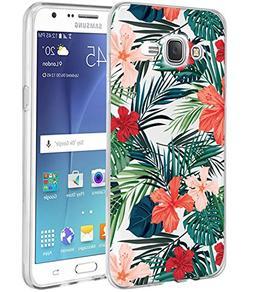 Galaxy J7 Case,J700 Case with flowers, BAISRKE Slim Shockpro