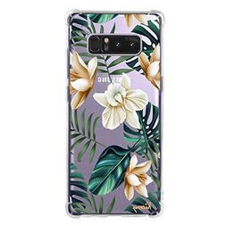 Galaxy Note 8 Case Clear with Tropical Palm Tree Leaves Flow