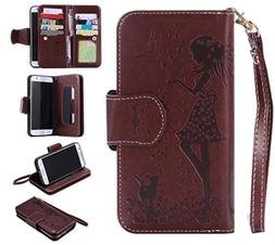 UNEXTATI Galaxy S7 Edge Case, Flip Stand Leather Case Wallet