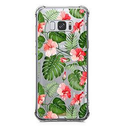 Galaxy S8 Plus Case for Girls Clear with Tropical Flower Des
