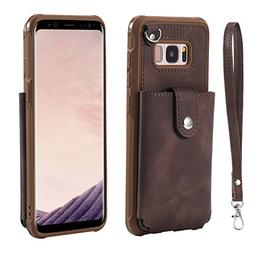 HikerClub Galaxy S8 Wallet Case Leather Detachable Flip-Out