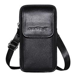 Premium Genuine Leather Cell Phone Crossbody Purse Bag Belt