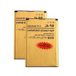 2 pcs Gold Extended Nokia E71 E72 E90 N97 High Capacity Batt
