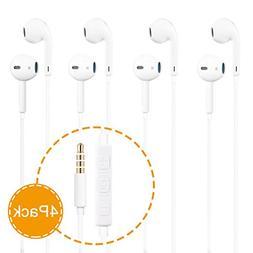 Headphones, 4Pack Earbuds Earphones with Built-in Mic for iP