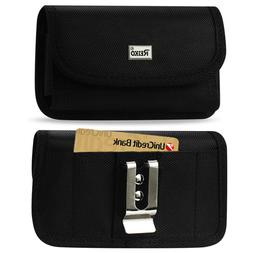 Reiko Heavy Duty Canvas Metal Belt Clip Case Card Slot for S