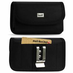 Reiko Heavy Duty Rugged Canvas Metal Belt Clip Case Card Slo