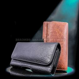 Horizontal Leather Cell Phone Pouch Wallet Case Holder Belt