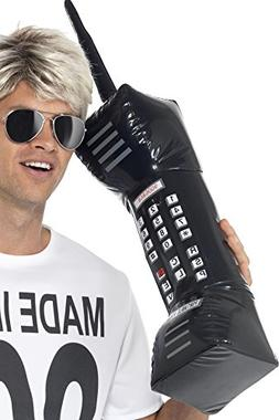 Smiffy's Men's Inflatable Retro Mobile Phone 30 Inches, Blac