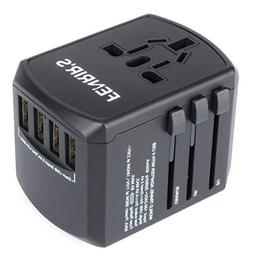 International Travel Wall Adapter And Charger | 4 USB Ports