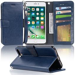 iPhone 7 Plus case, iPhone 8 Plus case, Arae PU Leather Wall