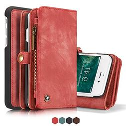 Iphone 7 PU Leather Wallet Magnetic Phone Case Detachable Pr