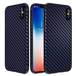 iPhone X Case, Ultra-Slim Thin Cute Carbon Fiber Pattern Sof