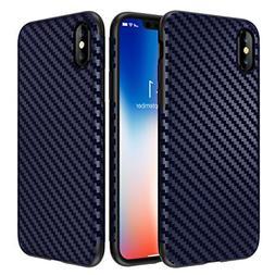 iPhone X Case, Ultra-Slim Thin Cute Carbon Fiber Pattern Sof