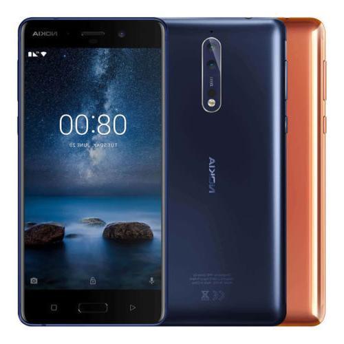 """Nokia 8 64GB TA-1004 Dual Sim  5.3"""" 4GB RAM Silver Blue Gold"""