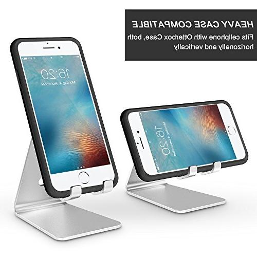Adjustable Phone Stand, OMOTON Aluminum Desktop Stand with and Fits All Smart Silver
